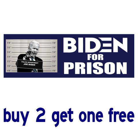 Biden for Prison no date - Anti Biden Sleepy Joe 2020 - Bumper Sticker - Blue Mugshot - GoGoStickers.com