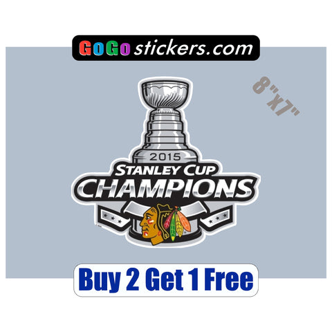 "Chicago Blackhawks - Stanley Cup Champions - XL v1 - 8""x7"" - Sticker - GoGoStickers.com"
