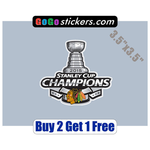 "Chicago Blackhawks - Stanley Cup Champions - v1 - 3.5""x3.5"" - Sticker - GoGoStickers.com"