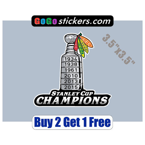 "Chicago Blackhawks - Stanley Cup Champions - v2 - 3.5""x3.5"" - Sticker - GoGoStickers.com"