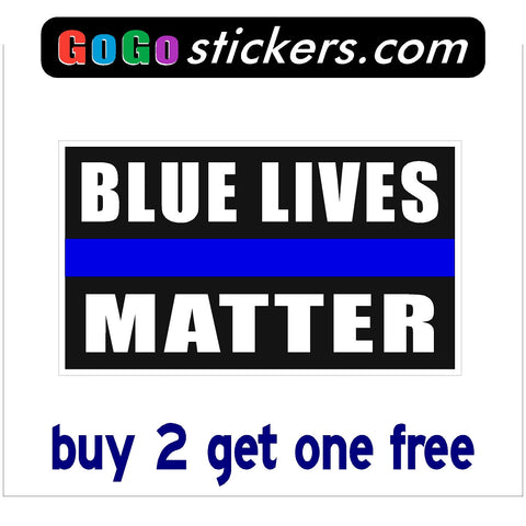 "Blue Lives Matter - Black Background - Rectangle - apx 3.5"" x 6"" - USA - First Responders - GoGoStickers.com"