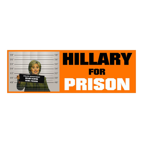 Hillary for Prison - Anti Hillary Clinton - Bumper Sticker - Orange