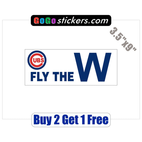 "Chicago Cubs - Fly the W - World Series Champions 2016 - 3.5""x9"" - Sticker - GoGoStickers.com"