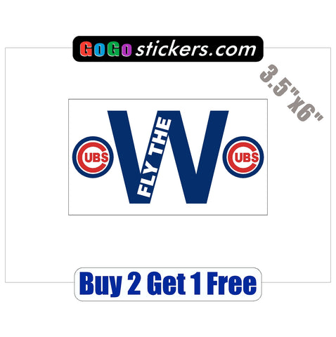 "Chicago Cubs - FLY THE W - w/logos - World Series Champions 2016 - 3.5""x6"" - Sticker"