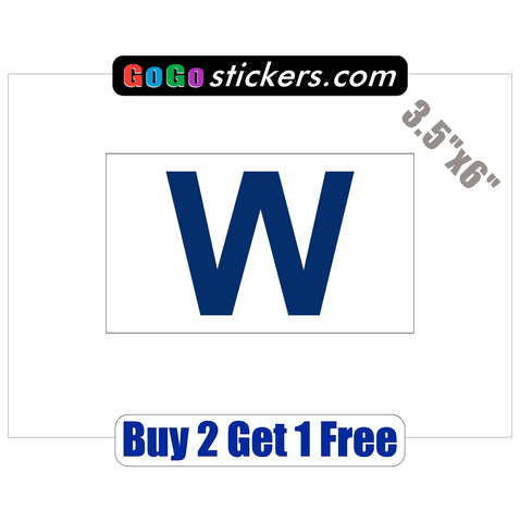 "Chicago Cubs - FLY THE W - World Series Champions 2016 - 3.5""x6"" - Sticker"