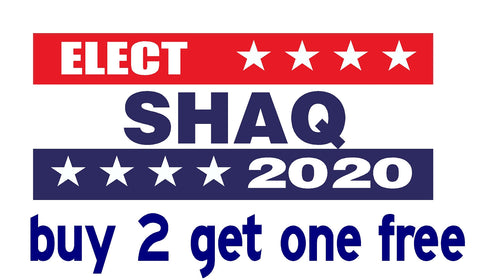 "Shaq Sheriff - ELECT 2020 - Bumper Sticker 3.5"" x 9"" - MADE IN USA - Red, White & Blue Bars - GoGoStickers.com"