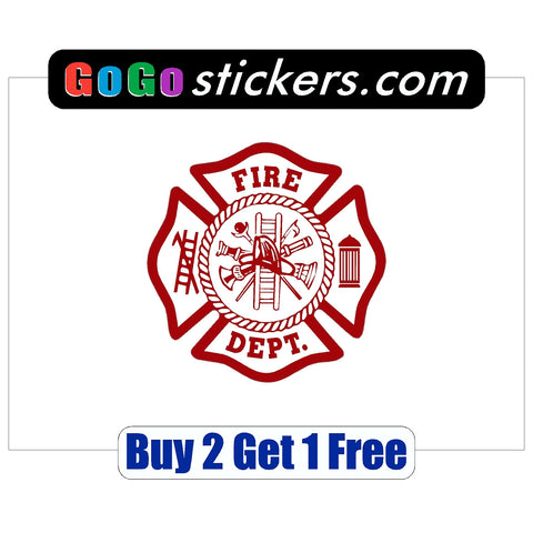 "Fire Department Sticker - apx 3.5"" x 3.5"" - USA - Patriotic - First Responders - GoGoStickers.com"