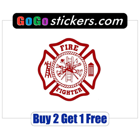 "Fire Fighter Sticker - apx 3.5"" x 3.5"" - USA - Patriotic - First Responders - GoGoStickers.com"