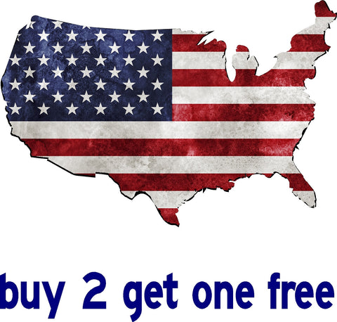 "American Flag - Shaped as the Country - apx 11"" x 7"" - USA - Patriotic - GoGoStickers.com"