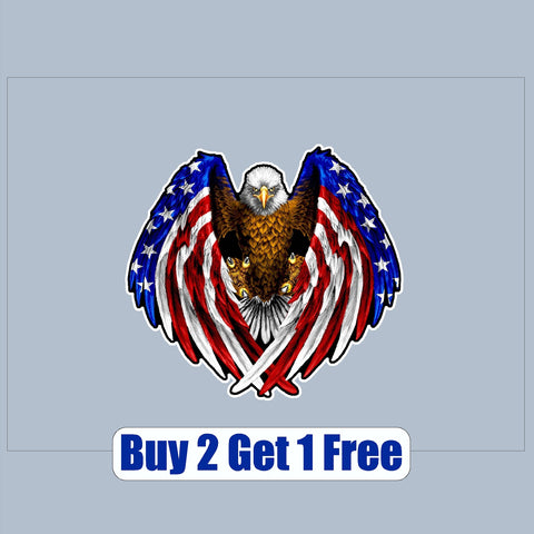 "American Flag Eagle - apx 4""x4""  - USA - Patriotic - GoGoStickers.com"
