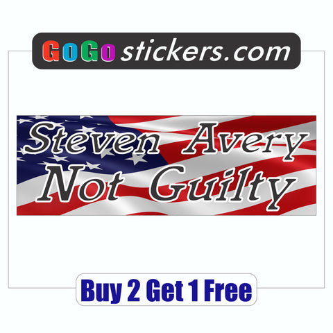 Steven Avery Not Guilty Bumper Sticker - Making a Murderer - American Flag - GoGoStickers.com