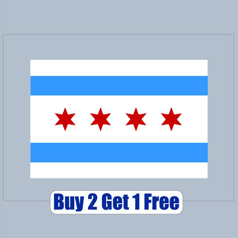 "Chicago Flag - V1 - apx 4""x6"" - USA - Patriotic - Patriotic"