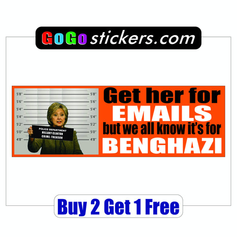 Anti Hillary Clinton - Bumper Sticker - Benghazi & Emails - GoGoStickers.com