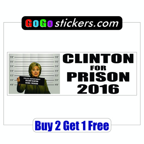 Hillary Clinton for Prison 2016 - Mug Shot - Bumper Sticker