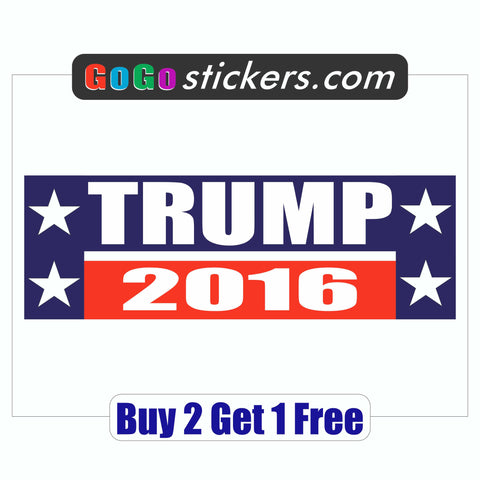DONALD TRUMP 2016 - Bumper Sticker - MADE IN USA - Red, White & Blue - GoGoStickers.com