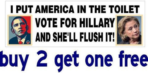 Anti Hillary & Obama - Bumper Sticker - Toilet Flush - 2016 - GoGoStickers.com