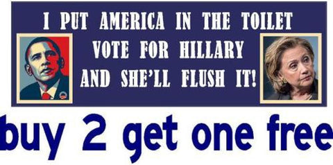 Anti Hillary & Obama - Bumper Sticker - Toilet Flush - Blue Background - 2016 - GoGoStickers.com