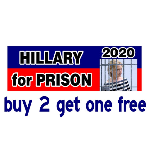 Hillary for Prison 2020 - Anti Hillary Clinton - Bumper Sticker - GoGoStickers.com