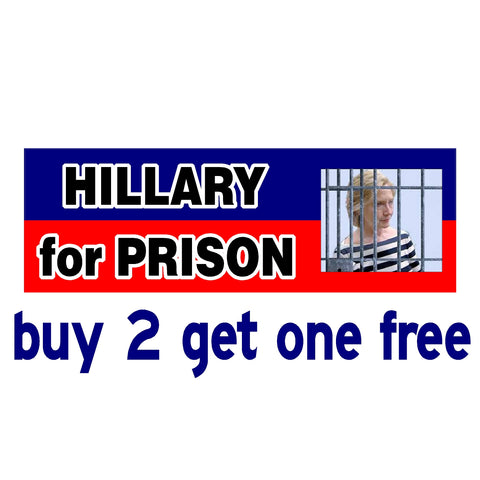 Hillary for Prison - No Date 2020 - Anti Hillary Clinton - Bumper Sticker - GoGoStickers.com