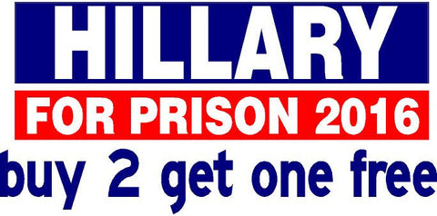 Hillary For Prison 2016 - Bumper Sticker - Blue Top Red Bottom