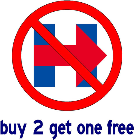"Hillary Clinton ""NOT WITH HER"" - 8"" Large Bumper Sticker - 2016 Hillary Campaign Logo - V3"