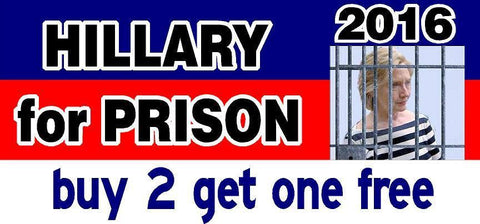 Hillary for Prison 2016 Bumper Sticker - Anti Hillary - Political - GoGoStickers.com