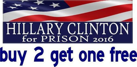 Anti Hillary Clinton - Bumper Sticker - For Prison 2016 - Half Flag - GoGoStickers.com