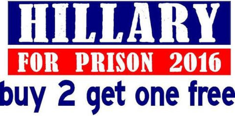 Hillary For Prison 2016 - Bumper Sticker - Distressed, Red, white and blue - GoGoStickers.com