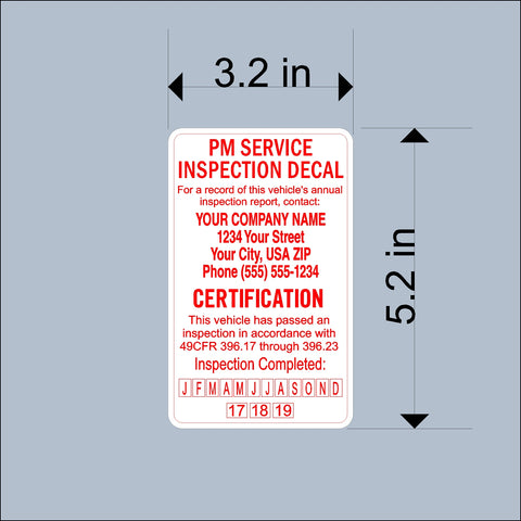 PM Service Due Inspection Decal Sticker - Trucks, Trailers, Tankers - Personalized for your company Safety & Inspection