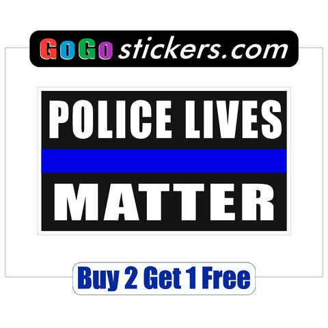 "Police Lives Matter - Black Background - Rectangle - apx 3.5"" x 6"" - USA - First Responders - GoGoStickers.com"