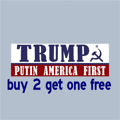 "TRUMP Putin America First - RE-ELECT 2020 - Bumper Sticker 3""x9"" - No Russia Collusion -USA MADE - GoGoStickers.com"