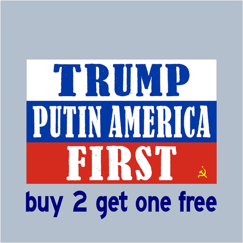 "TRUMP Putin America First - RE-ELECT 2020 - Bumper Sticker 3.5"" x 5.5"" -No Russia Collusion"