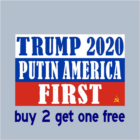 "TRUMP 2020 Putin America First - RE-ELECT 2020 - Bumper Sticker 3.5"" x 5.5"" - No Russia Collusion - GoGoStickers.com"