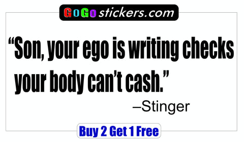 Top Gun Quote - Stinger - Checks you can't cash - GoGoStickers.com