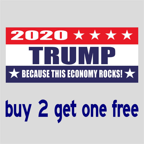 "TRUMP 2020 - This Economy Rocks - RE-ELECT 2020 - Bumper Sticker 4"" x 9"" - MADE IN USA - GoGoStickers.com"