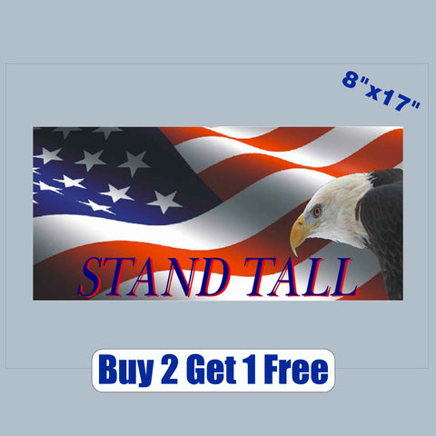 "Stand Tall - American Flag Eagle - apx 8""x17""  - USA - Patriotic - GoGoStickers.com"