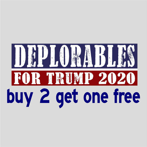 DEPLORABLES FOR TRUMP 2020 - Bumper Sticker - USA - Red, White & Blue - Deplorable - GoGoStickers.com