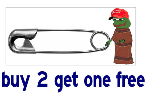 Diaper Pin - Pepe the Frog - FOR TRUMP MAGA - Bumper Sticker - GoGoStickers.com