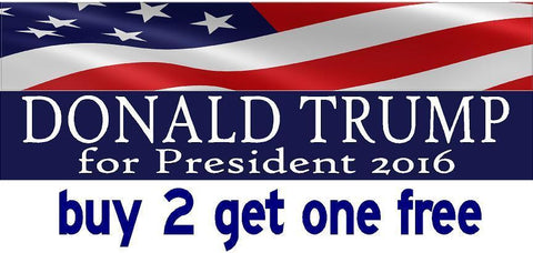 DONALD TRUMP 2016 - Bumper Sticker - Flag - MADE IN USA - Red, White & Blue - GoGoStickers.com