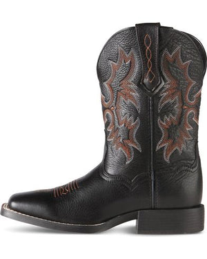 Ariat Youth Tombstone Black Deertan Square Toe Western Boots 10007845 - Painted Cowgirl Western Store