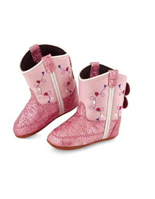 Old West Infant Poppets Pink Heart Embroidered Booties 10116