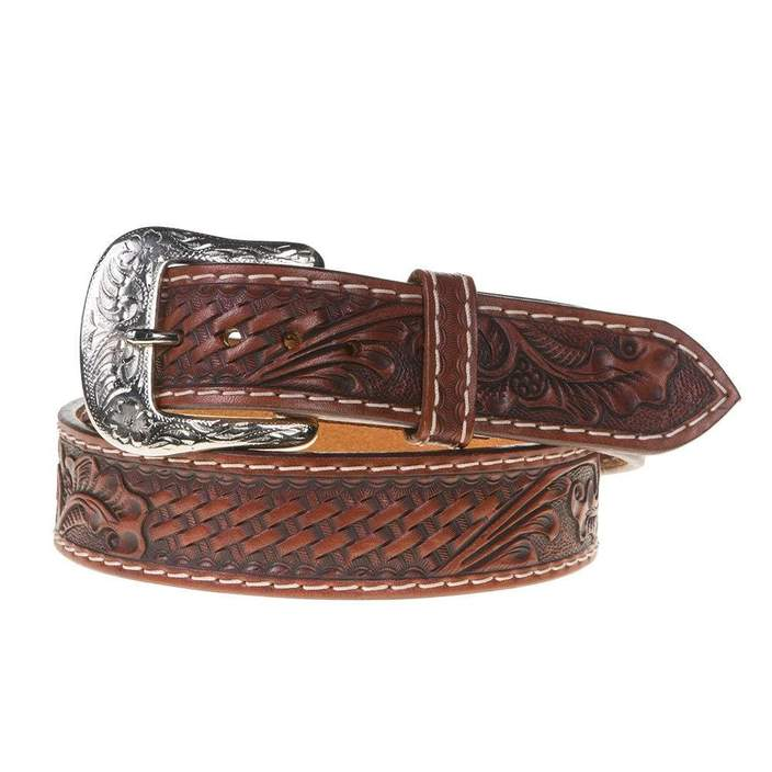 Twisted X Men's Chestnut Floral Basket Weave Tooled Leather Belt XB-100