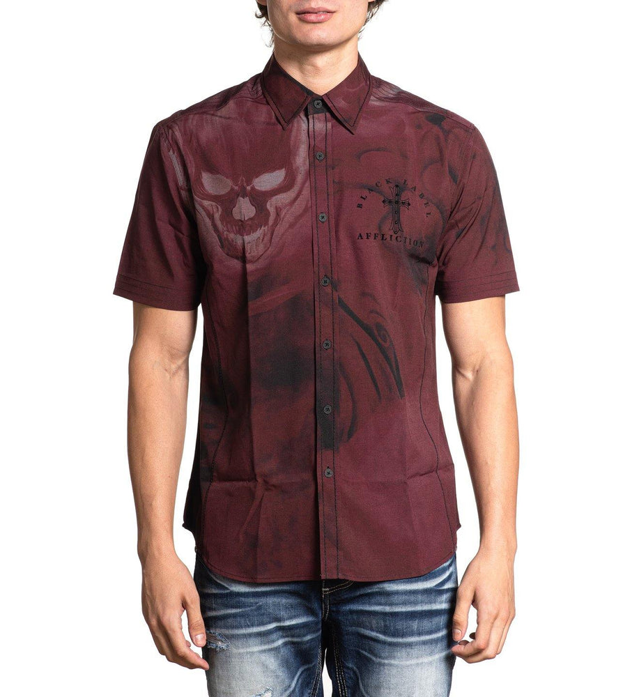 Affliction Men's Hellish Woven Maroon Button Down Short Sleeve Shirt 110WV810