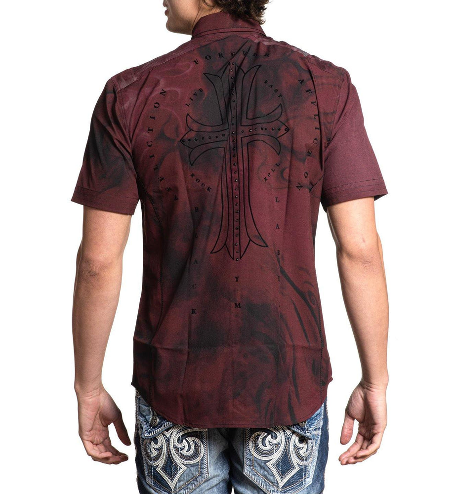 Affliction Men's Hellish Woven Maroon Button Down Short Sleeve Shirt 110WV810 - Painted Cowgirl Western Store