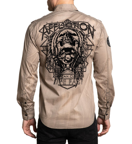Affliction Men's Profuse Khaki Skull & Headdress Button Up Shirt 110WV822