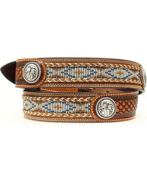Load image into Gallery viewer, Ariat Men's Brown Basket Weave Leather Belt A1013248 - Painted Cowgirl Western Store