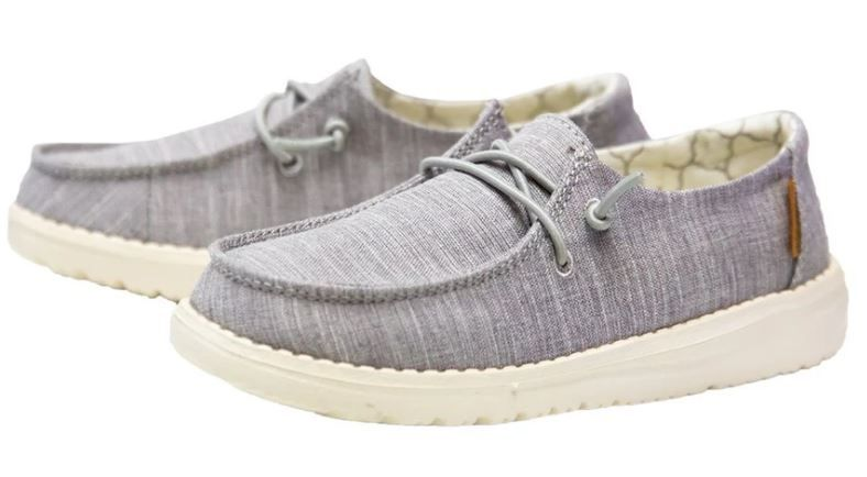 Hey Dude Wendy Youth Linen Grey Casual Shoes 130123096