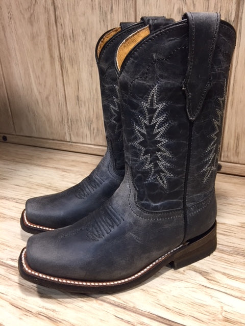 Corral Kid's Distressed Black Square Toe Western Boots E1311