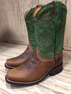 Corral Kid's Green & Honey Brown Square Toe Western Boots E1316 - Painted Cowgirl Western Store