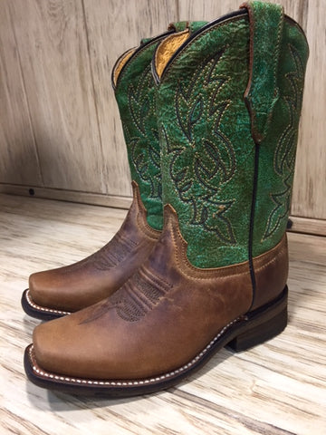 Corral Kid's Green & Honey Brown Square Toe Western Boots E1316